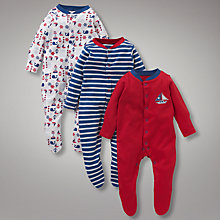 Buy John Lewis Baby Nautical Sleepsuits, Pack of 3, Multi Online at johnlewis.com