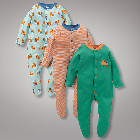 Buy John Lewis Baby Tiger Sleepsuits, Pack of 3, Multi Online at johnlewis.com