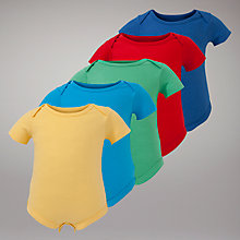Buy John Lewis Baby Bodysuits, Pack of 5, Multi Online at johnlewis.com