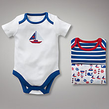 Buy John Lewis Baby Nautical Sleepsuits, Pack of 3, Navy Online at johnlewis.com