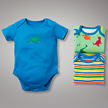 Buy John Lewis Baby Dinosaur and Stripe Bodysuits, Pack of 3 Online at johnlewis.com