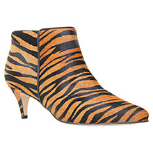 Buy Carvela Stripy Hair-On Leather Tiger Print Point Toe Ankle Boots, Tan Online at johnlewis.com