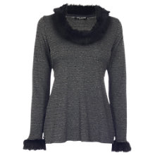 Buy James Lakeland Fur Jacquard Top, Black/Grey Online at johnlewis.com