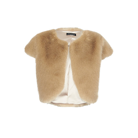 Buy James Lakeland Faux Fur Gilet, Beige Online at johnlewis.com