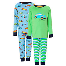 Buy John Lewis Boy Car Pyjamas, Pack of 2, Blue/Green Online at johnlewis.com
