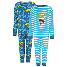 Buy John Lewis Boy Aeroplane Pyjamas, Pack of 2, Blue/Navy Online at johnlewis.com