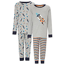 Buy John Lewis Boy Spaceship Pyjamas, Pack of 2, Grey Online at johnlewis.com