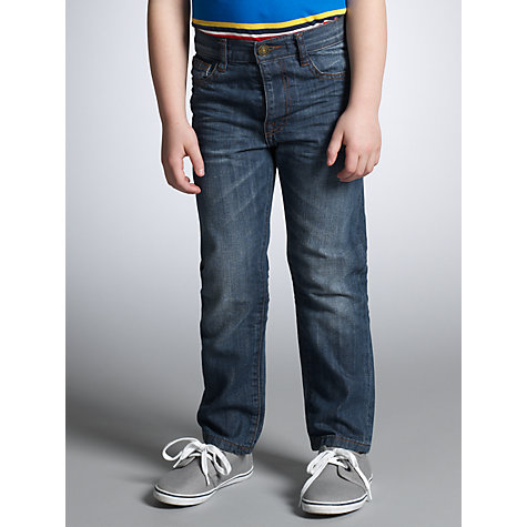 Buy John Lewis Boy Faded Straight Fit Denim Jeans, Blue Online at johnlewis.com