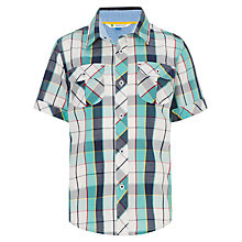 Buy John Lewis Boy Short Sleeved Chunky Checked Shirt, Aqua Online at johnlewis.com