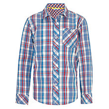 Buy John Lewis Boy Long Sleeved Checked Shirt, Blue/Red Online at johnlewis.com