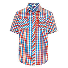 Buy John Lewis Boy Short Sleeved Mini Checked Shirt, Red/Blue Online at johnlewis.com