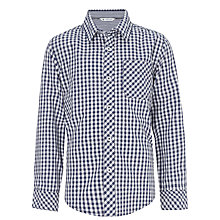 Buy John Lewis Boy Gingham Checked Long Sleeved Shirt, Navy/White Online at johnlewis.com