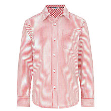 Buy John Lewis Boy Striped Long Sleeved Shirt, Red/White Online at johnlewis.com