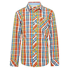 Buy John Lewis Boy Multi Checked Long Sleeved Shirt, Orange/Multi Online at johnlewis.com