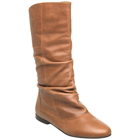 Buy Dune Melissa Leather Slouched Calf Boots, Tan Online at johnlewis.com