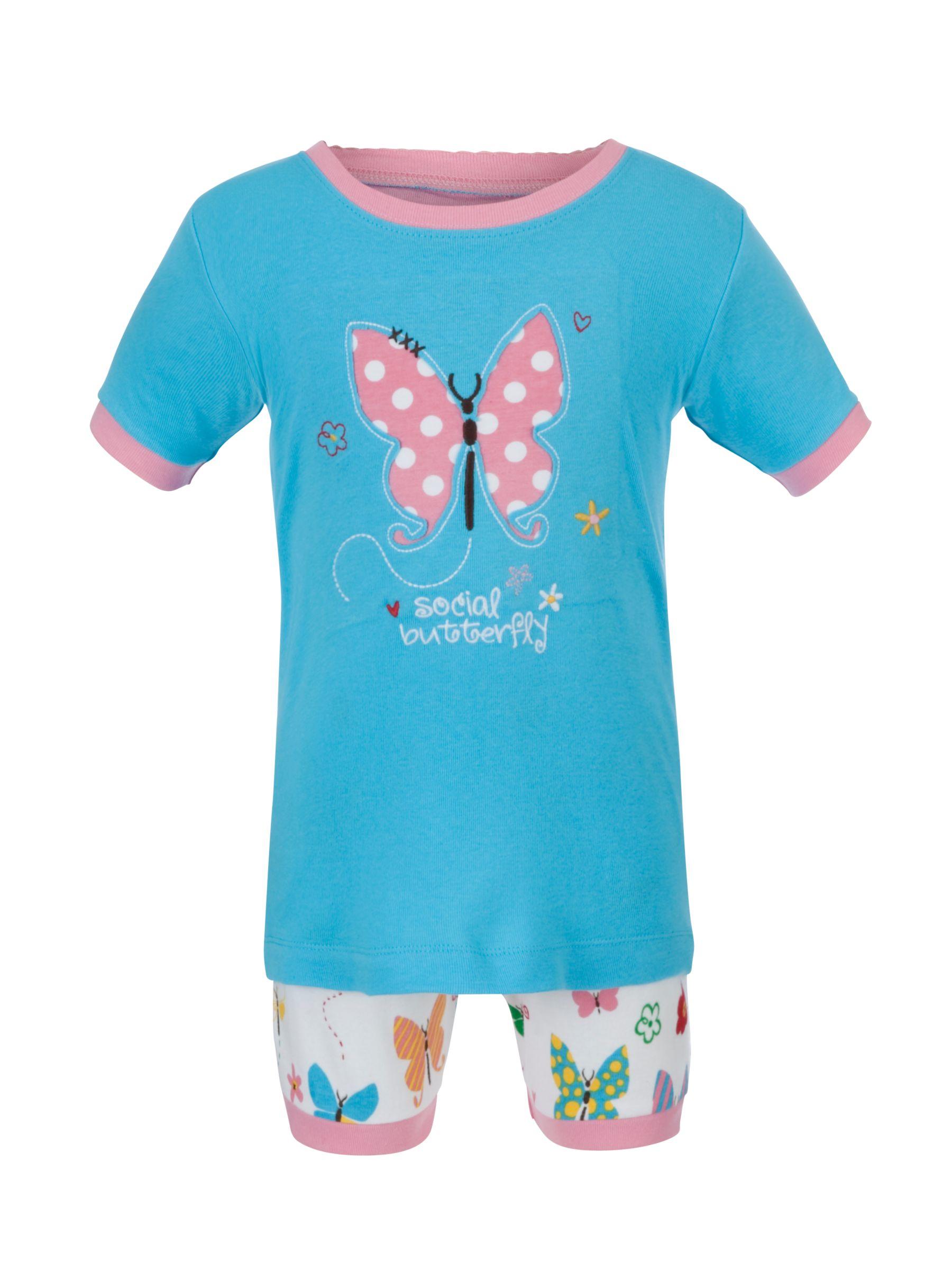 Hatley Social Butterfly Shortie Pyjamas, Blue