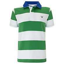 Buy Gant Boys' Barstripe Short Sleeved Rugby Shirt, Green/White Online at johnlewis.com