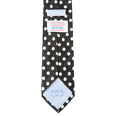 Buy Penrose London Glyndebourne Polka Dot Tie, Black Online at johnlewis.com