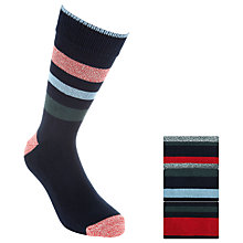 Buy John Lewis George Nep Stripe Socks, Navy, Pack of 3 Online at johnlewis.com