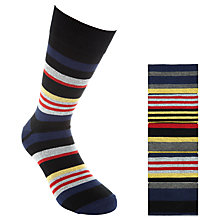 Buy John Lewis Joey Stripe Socks, Pack of 5, Red/Navy Online at johnlewis.com