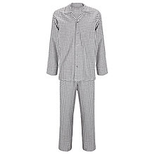 Buy John Lewis Steve Brushed Cotton Check Pyjamas, Grey Online at johnlewis.com