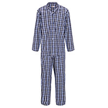 Buy John Lewis Hazel Woven Cotton Check Pyjamas, Navy/Purple Online at johnlewis.com