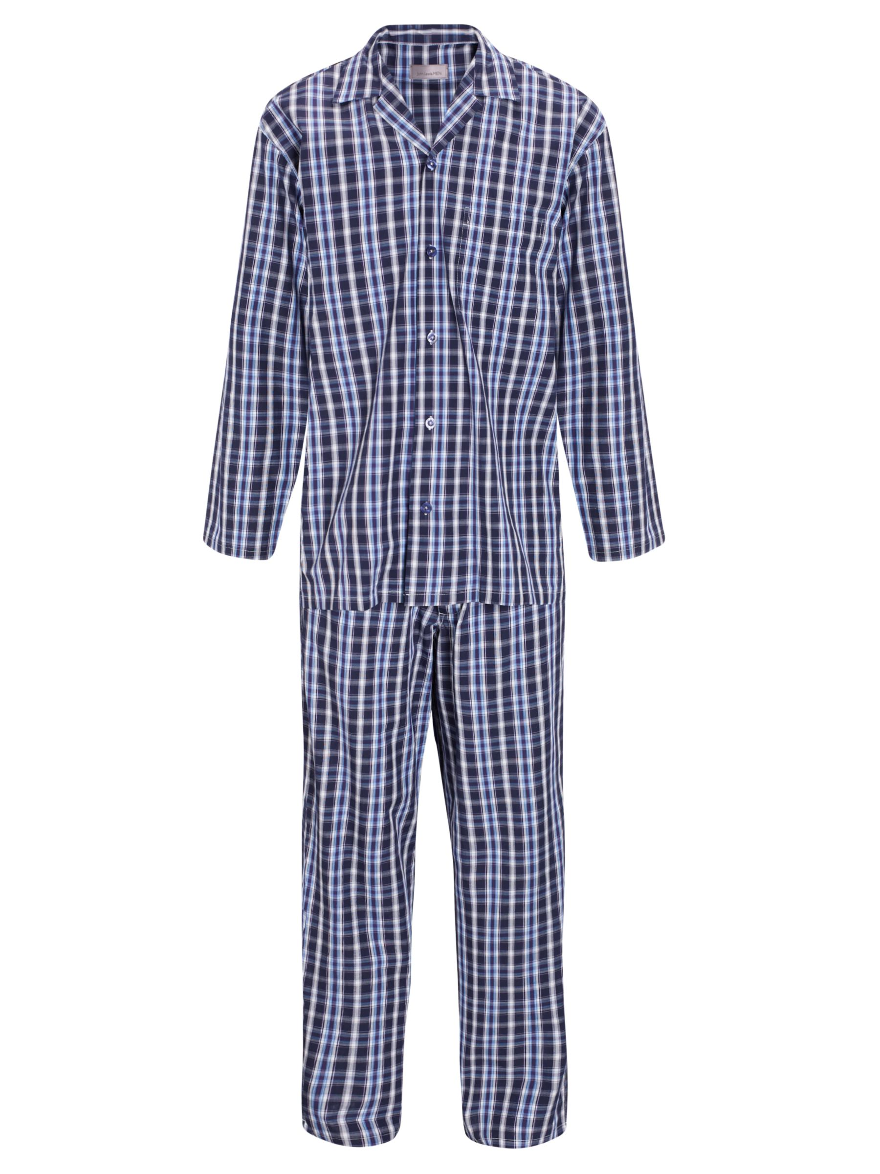 John Lewis Hazel Woven Cotton Check Pyjamas, Navy/Purple
