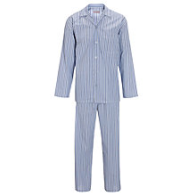 Buy John Lewis Louis Stripe Woven Cotton Pyjamas, Blue Online at johnlewis.com