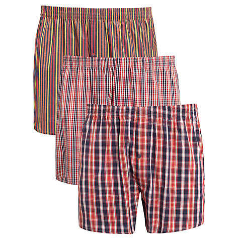 Buy John Lewis Pattern Cotton Boxers, Pack of 3 Online at johnlewis.com