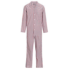 Buy John Lewis Woven Striped Pyjamas, Red Online at johnlewis.com