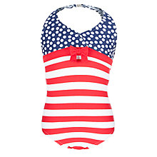 Buy John Lewis Girl Nautical Spot and Stripe Swimsuit, Red/Blue Online at johnlewis.com