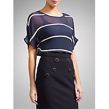 Buy Somerset by Alice Temperley Embellished Stripe Top, Navy/Cream Online at johnlewis.com