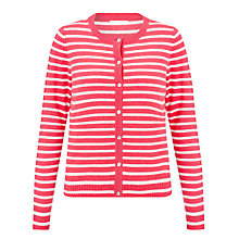 Buy John Lewis Cashmere Stripe Crew Neck Cardigan, Raspberry/Ecru Online at johnlewis.com