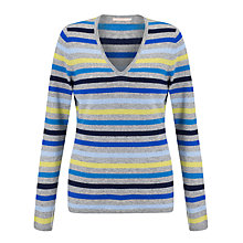 Buy John Lewis Cashmere V-Neck Stripe Jumper, Blue/Grey Online at johnlewis.com