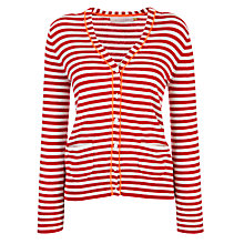Buy Collection WEEKEND by John Lewis Striped Cardigan, Red/Ecru Online at johnlewis.com
