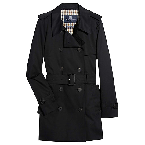 Buy Aquascutum Jennifer Double-Breasted Coat, Black Online at johnlewis.com