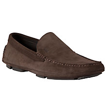 Buy BOSS Drefion Suede Driving Loafers, Brown Online at johnlewis.com