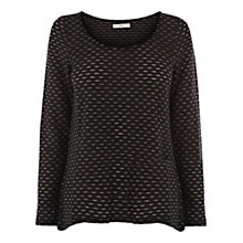 Buy Oasis Sparkle Dip Hem Top, Black Online at johnlewis.com