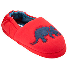 Buy John Lewis Boy Dinosaur Slippers, Red Online at johnlewis.com