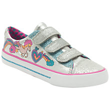 Buy Clarks Doodles Glitter To Canvas Trainers, Silver Online at johnlewis.com