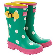 Buy Little Joule Polka Dot Wellington Boots, Green/White Online at johnlewis.com