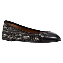 Buy Hobbs Maci Snake Print Leather Ballerina Pumps, Black Online at johnlewis.com