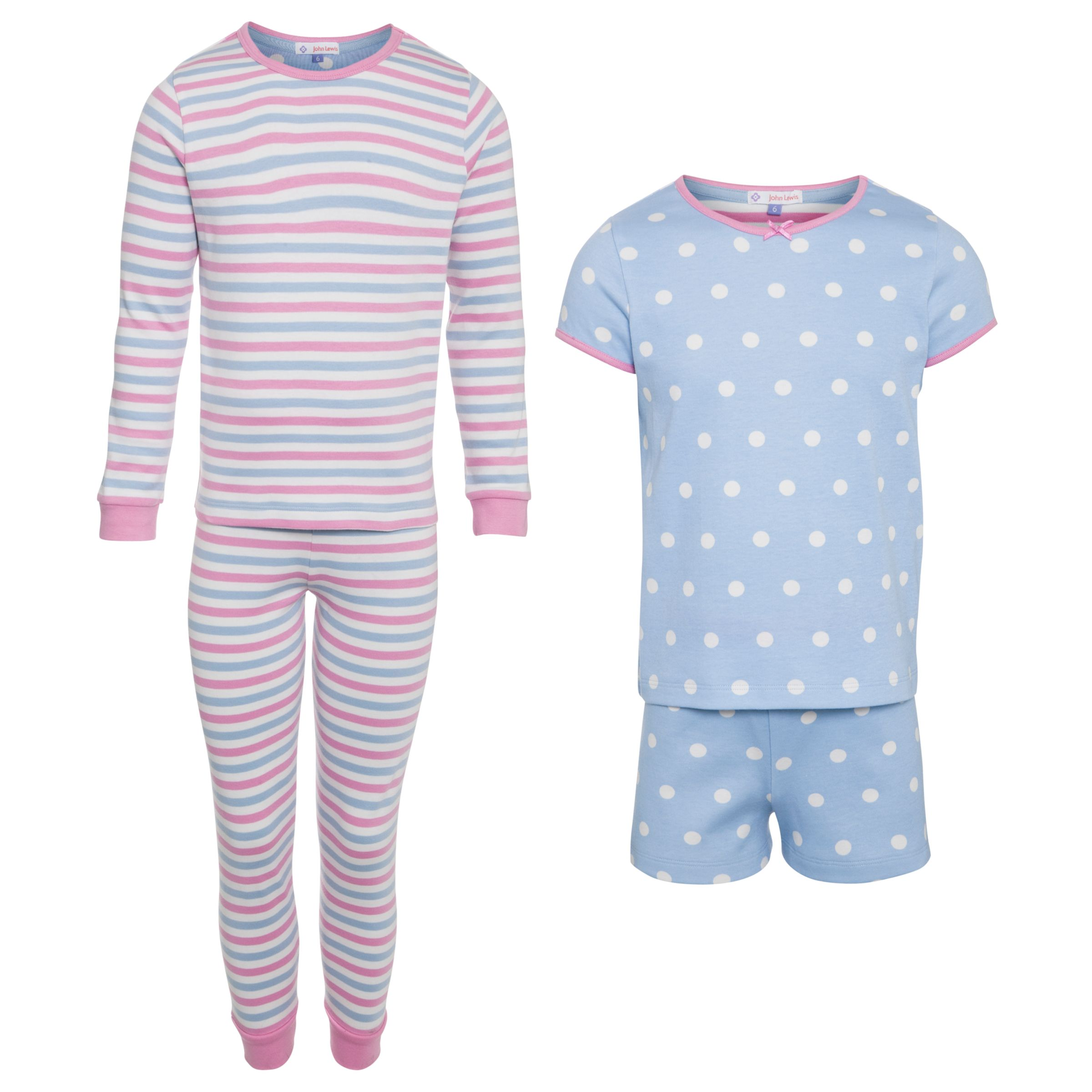 John Lewis Girl Long Sleeved and Shortie Pyjamas, Pack of 2