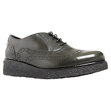 Buy KG by Kurt Geiger Lani Leather Flatform Wingtip Brogues, Dark Green Online at johnlewis.com