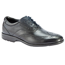 Buy Rockport Wing Tip Leather Brogue Oxford Shoes, Black Online at johnlewis.com