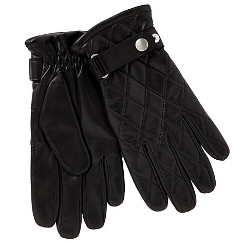 Buy John Lewis Quilted Leather Gloves, Black Online at johnlewis.com