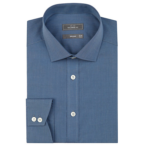Buy John Lewis Tailored End On End Shirt, Blue Online at johnlewis.com