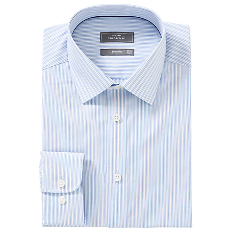 Buy John Lewis XL Sleeves Tailored Varied Stripe Shirt, Blue Online at johnlewis.com