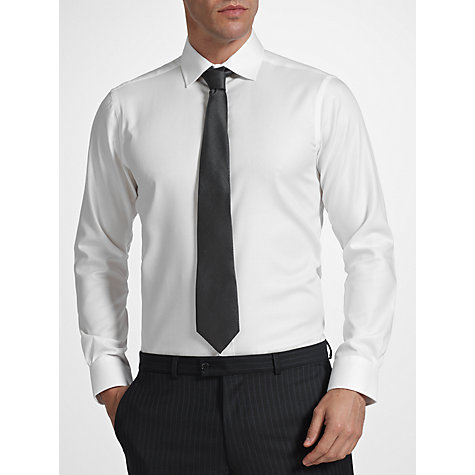 Buy John Lewis Non Iron Twill Tailored Fit Shirt, White Online at johnlewis.com