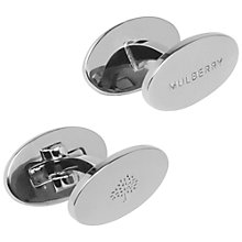 Buy Mulberry Oval Silver Plated Reversible Cufflinks, Silver Online at johnlewis.com